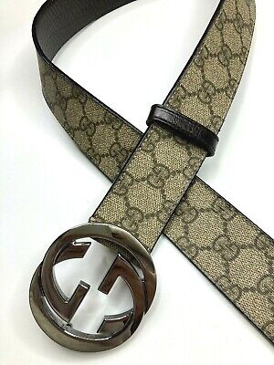 GUCCI VINTAGE GG CHROME SILVER BUCKLE GUCCISSIMA PVC BELT MEN WIDE BEIGE ITALY