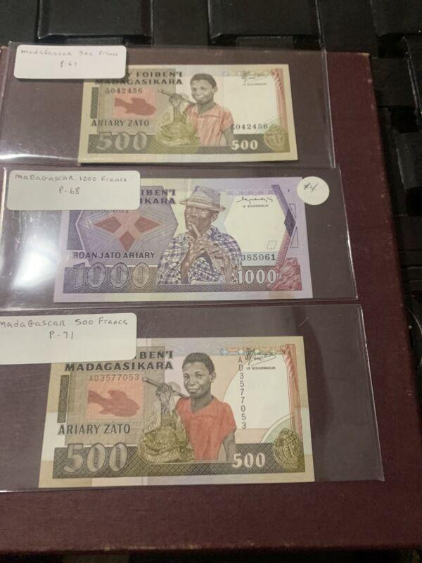 Madagascar, Africa,1000 500 500 Francs, ND (1985), P-71 68 67 Unc