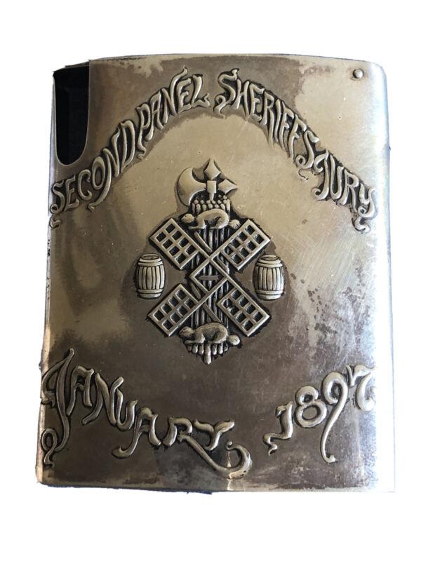 Antique American Sterling Silver Cigarette Case, Circa 1897