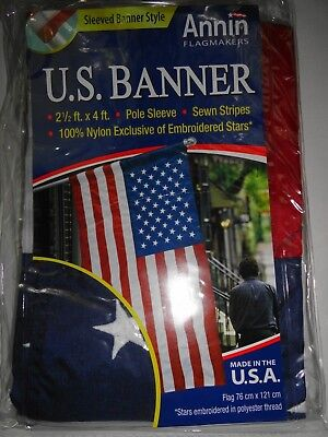 ANNIN -  2 1/2' x 4'  Embroidered American Flag / banner  Ma