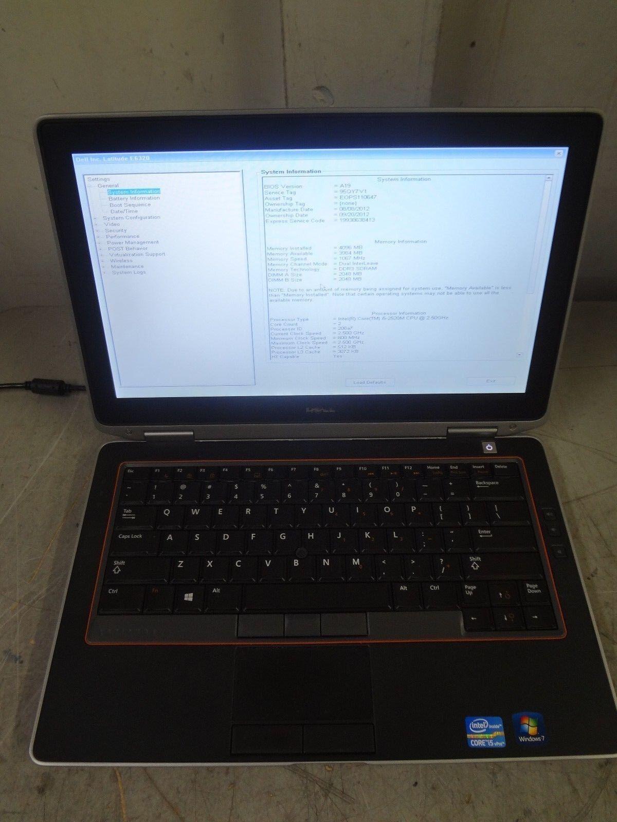 "Dell E6320 13.3"" Intel Core i5 2.5GHz 4GB 160GB Webcam Linux Laptop ""NO BATTERY"""