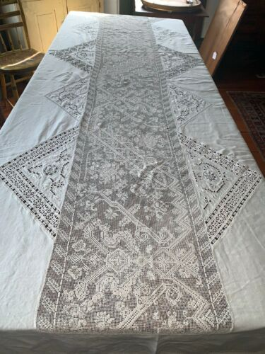 "Antique Mixed Lace Italian Heavy Linen Banquet Tablecloth 150"" x 95"" Creatures"
