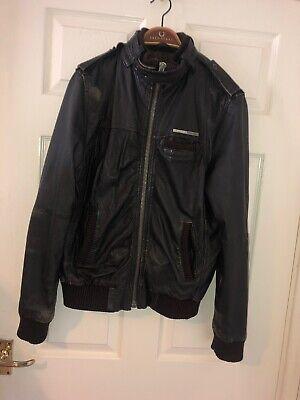 Mens Medium Superdry Leather Jacket Distressed Vintage Style Genuine Coat