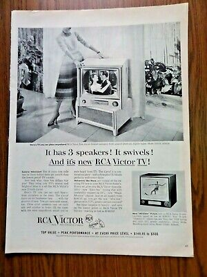 1954 RCA Victor TV Television Ad Has 3 Speakers It Swivels
