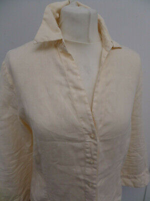 ROBERT FRIEDMAN 100% Linen Cream Blouse Shirt Top Size M (12)