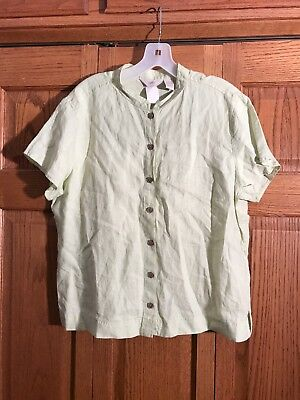 Apple Top Shirt (J Jill Top Shirt Apple Green Button Front Short Sleeve Linen Womans Size L New)