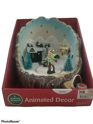 Holiday Time Animated Musical Village Skater-Christmas-LED Lights-8 Songs-NEW A1