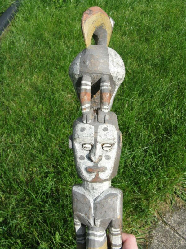 Vintage Papua New Guinea Iatmul Male Ancestor w/ Hornbill Tribal Art Carving