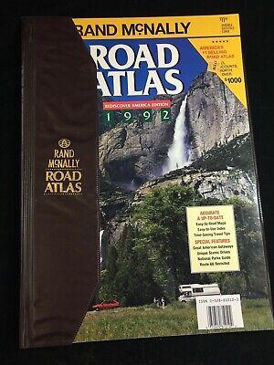 VINTAGE 1992 RAND MCNALLY ROAD ATLAS, USA, MEXICO, CANADA, WITH VINYL COVER