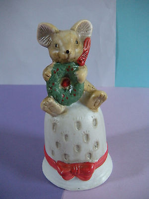 Porcelain Christmas Bell w/ Mouse and Wreath