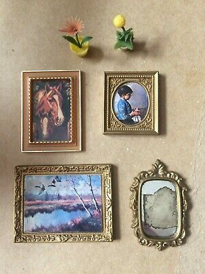 Vintage Lundby Dolls House Pictures, Mirror  and Plants