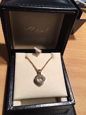 Chopard Happy Diamonds Pendant Necklace Yellow Gold & Box & Certificate
