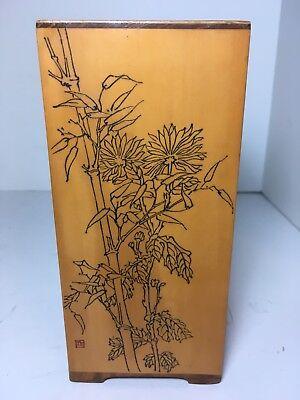 """Etched Floral Vase (Vintage Wood Vase Etched Bamboo Floral 7"""" Home Decor)"""