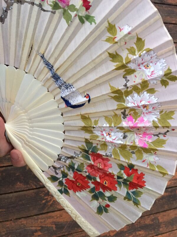 Rare Antique CHINA CHINESE CANTON EXPORT Hand Stitched Carved Painted Bovine FAN