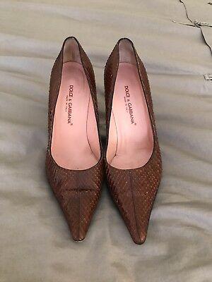 Dolce & Gabbana Brown Snakeskin Pumps Womens Size US 7.5, EU 38. Free Shipping!