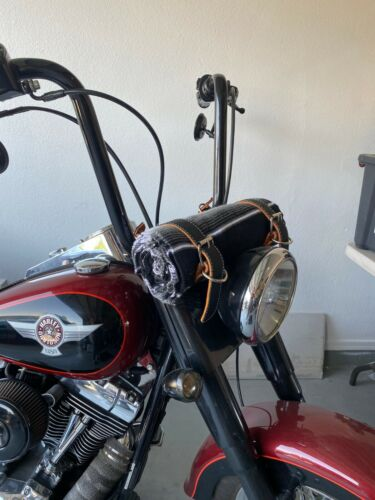 MOTORCYCLE BELT BLANKET HOLDER BIKER, MEXICAN , HAND MADE, REAL LEATHER,BLACK