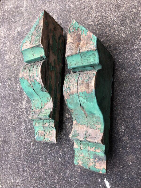 Ea 7. Antique Carved Wood Corbels