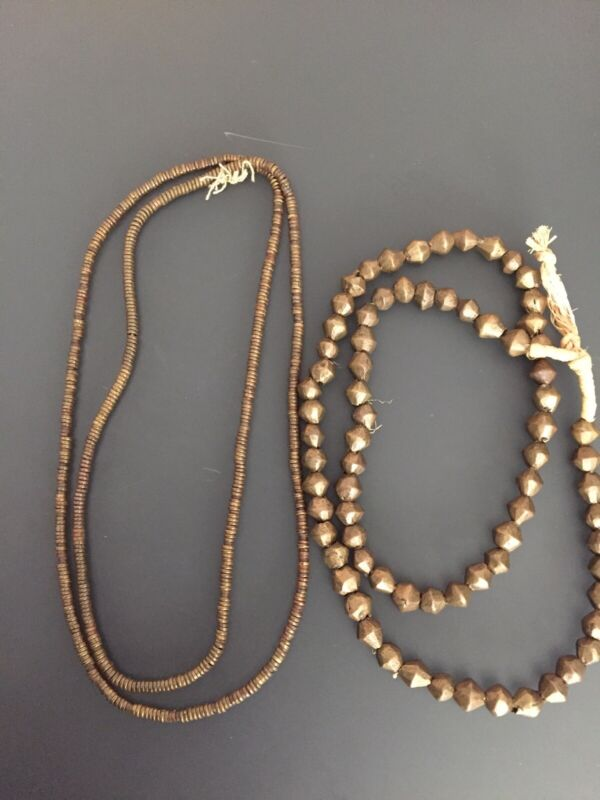Vintage African Brass Bead Necklaces (2)