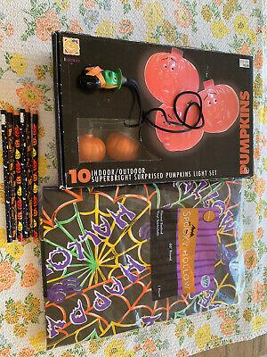 Halloween Blow Mold Vintage Surprised Pumpkin String Lights +TABLECLOTH, PENCILS