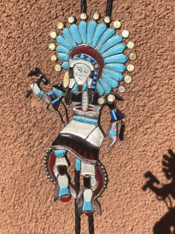 Vintage Huge Native Dancer Inlay Bolo Tie