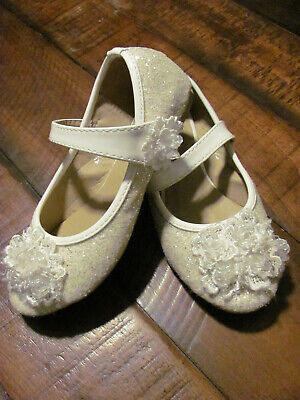 Off White Girls Dress Shoes (Girls Size 13 glitter bead White Dress Shoes Easter First Holy Communion)