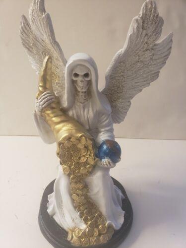 "Santa Muerte Bendesida Blanca /Grim Reaper Color White Size 12"" / Wings /Blessed"