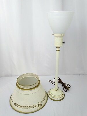 Vtg Chic Shabby Tole Torchiere Table Lamp Off White Hand Painted Gold Leaves 23