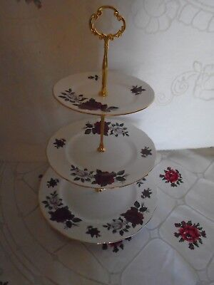 VINTAGE COLCLOUGH AMORETTA TEASET THREE TIERED CAKE STAND (23 AVAILABLE)
