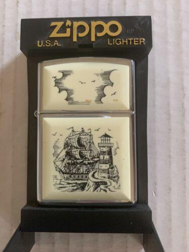 Zippo Lighter - No. 359 Scrimshaw Lighthouse Ship W/ Box ?1985 Retired. *READ*