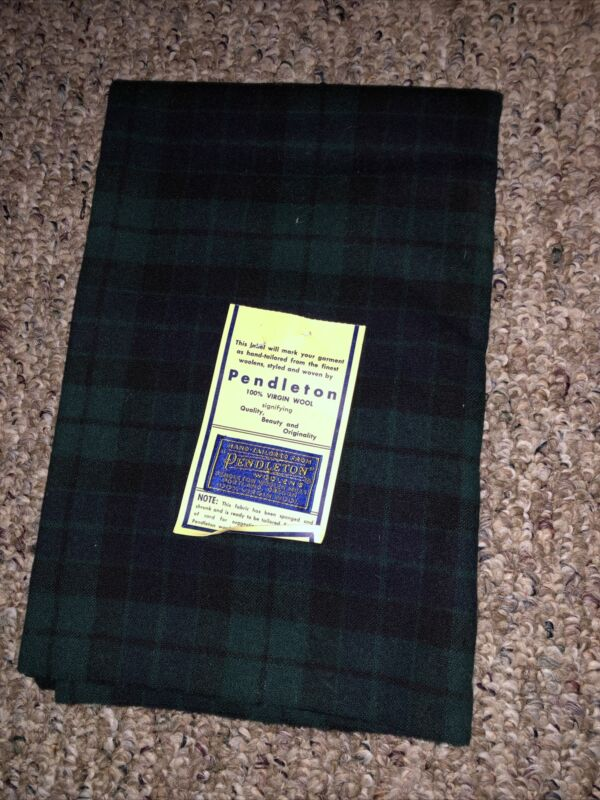 NOS Vintage Pendleton 100% Virgin Wool Fabric Dark Green Plaid