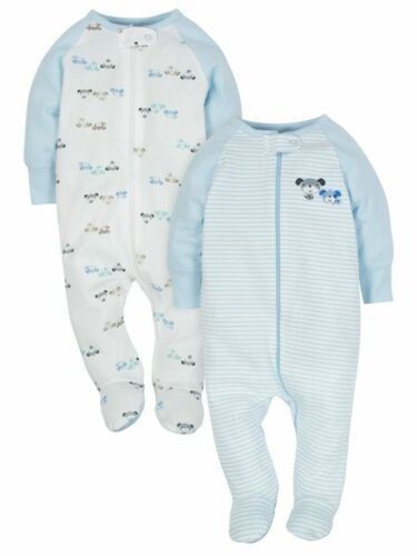 Wonder Nation Baby Boy Zip Up Sleep n Play Sleeper 2pk Blue Puppies (NEW)