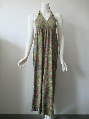 Sweet Pea Green Paisley Hobo Print Mesh Nylon Halter Maxi Summer Dress M Nylon Print Halter Dress