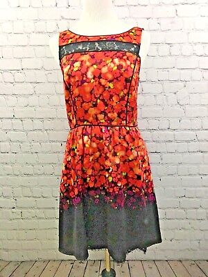 Jesssica Simpson Baby Doll Orange Black Lace Trim Dress Sleeveless Sz 8 A1715 for sale  Shipping to India