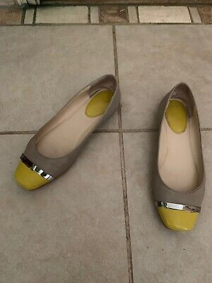 Calvin Klein Beige Yellow Flats Shoes Leather 8.5