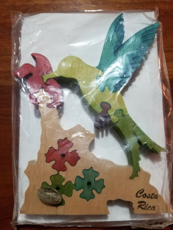Handmade Hummingbird Puzzle Made in Costa Rica Reforested Timber