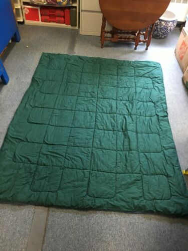 """Indoor/Outdoor Quilted Reversible Blue Green Blanket 84"""" long by 68"""" wide"""