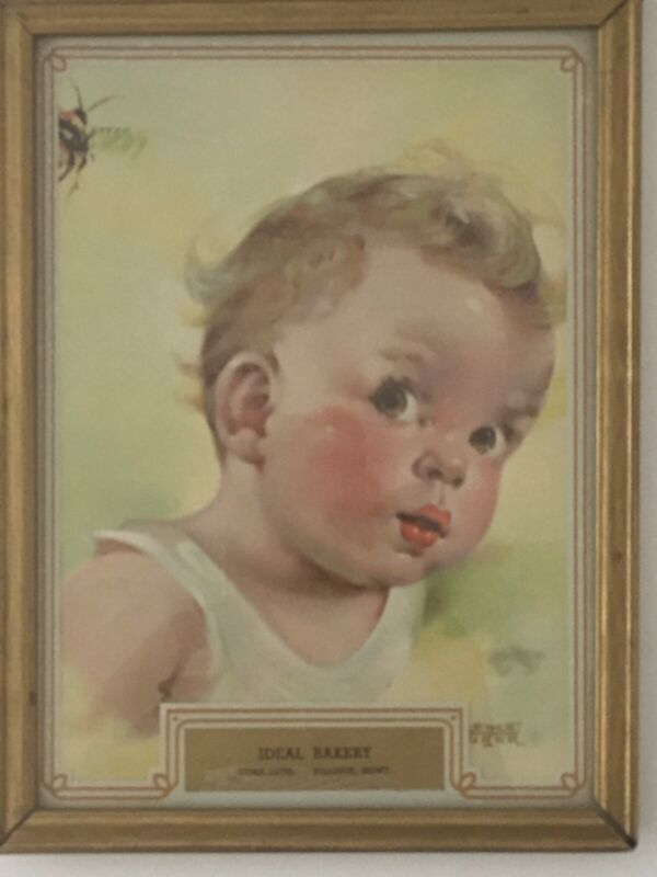 Vintage Framed Baby with Bee Bakery Advertising Souvenir Gift Billings Montana