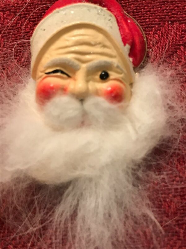 Flocked Hand Painted Santa Head Brooch / Pin Vintage 1950s Signed Made in Korea