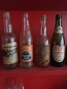 Antique soda bottles - paper labels