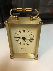 VINTAGE BENCHMARK BRASS DESKTOP /MANTLE CLOCK -WEST GERMANY-NEEDS SOME TLC