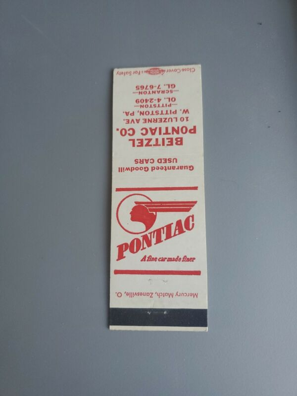 Vintage Automobile Matchbook 1960s Pontiac Beitzel Pontiac Pittston, Pa