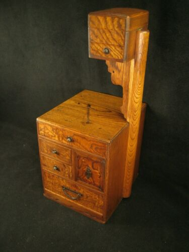 ANTIQUE JAPANESE (c. 1920) MULBERRY WOOD 6 DRAWER HARIBAKO SEWING TANSU CHEST