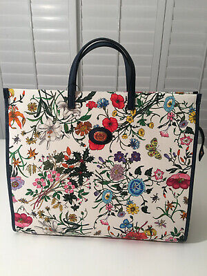 $1500 NWT Authentic GUCCI GG Logo Flora Canvas Leather Blue Trim Large Tote Bag