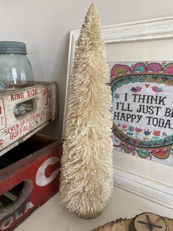 "Bottle Brush Tree Primitive Folk Art Flocked 14"" Tall Cream Tan Vintage Style"