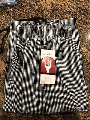 Chef Works Chef Pants Black White Checkered Large