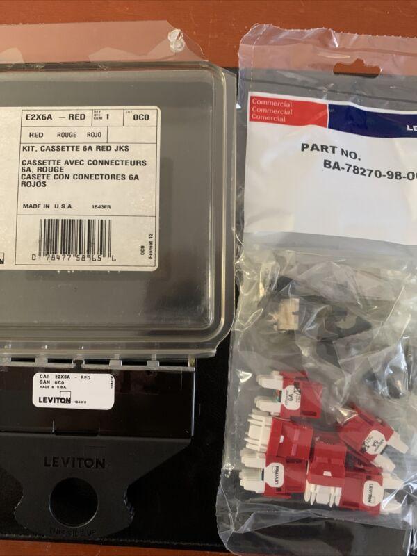 Leviton E2x6a- Red - Cassette Kit 6a Red Jacks - Part No. Ba-78270-98-00-01