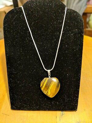 Tiger's Eye Gemstone Heart Pendant Necklace .925 Silver, 18
