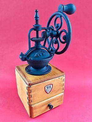 Vintage European French PEUGEOT FRERES Wood+Metal Fly Wheel Coffee Mill/Grinder