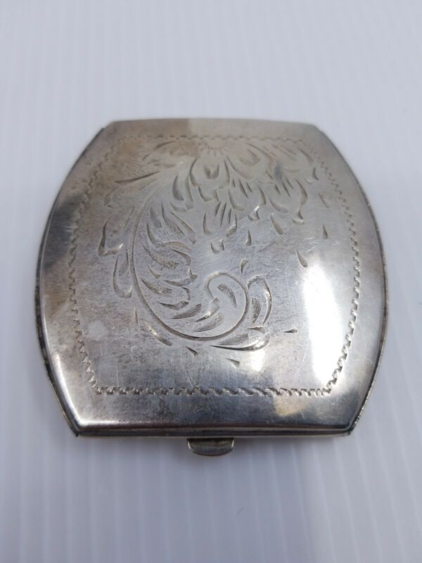 Vintage Sterling Silver .925 Etched Powder Case Compact