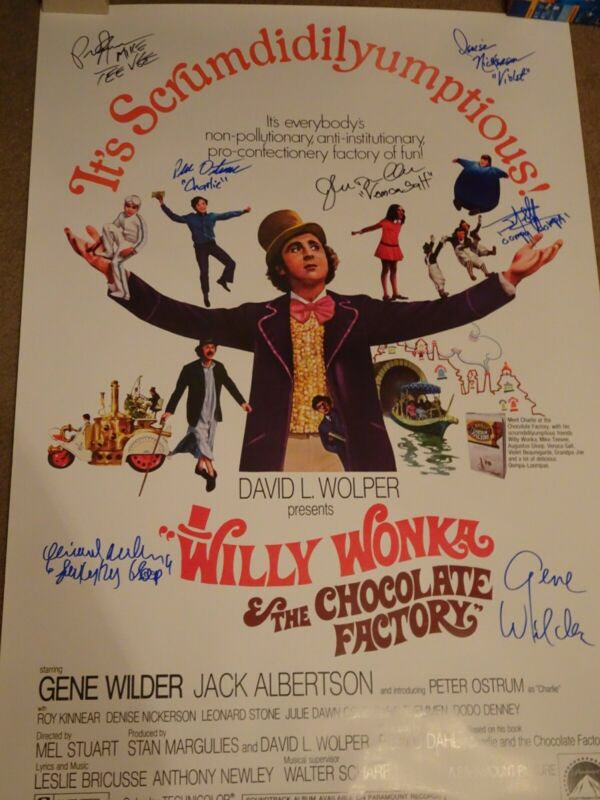 Willy Wonka & The Chocolate Factory Signed Movie Poster 7 sigs!!! autographed
